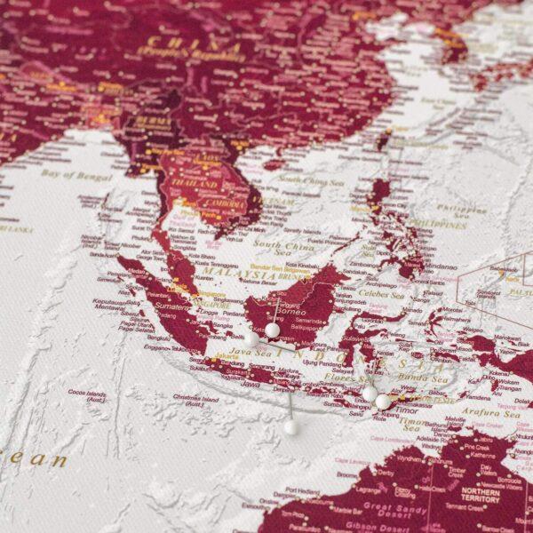 push pin world map burgundy color