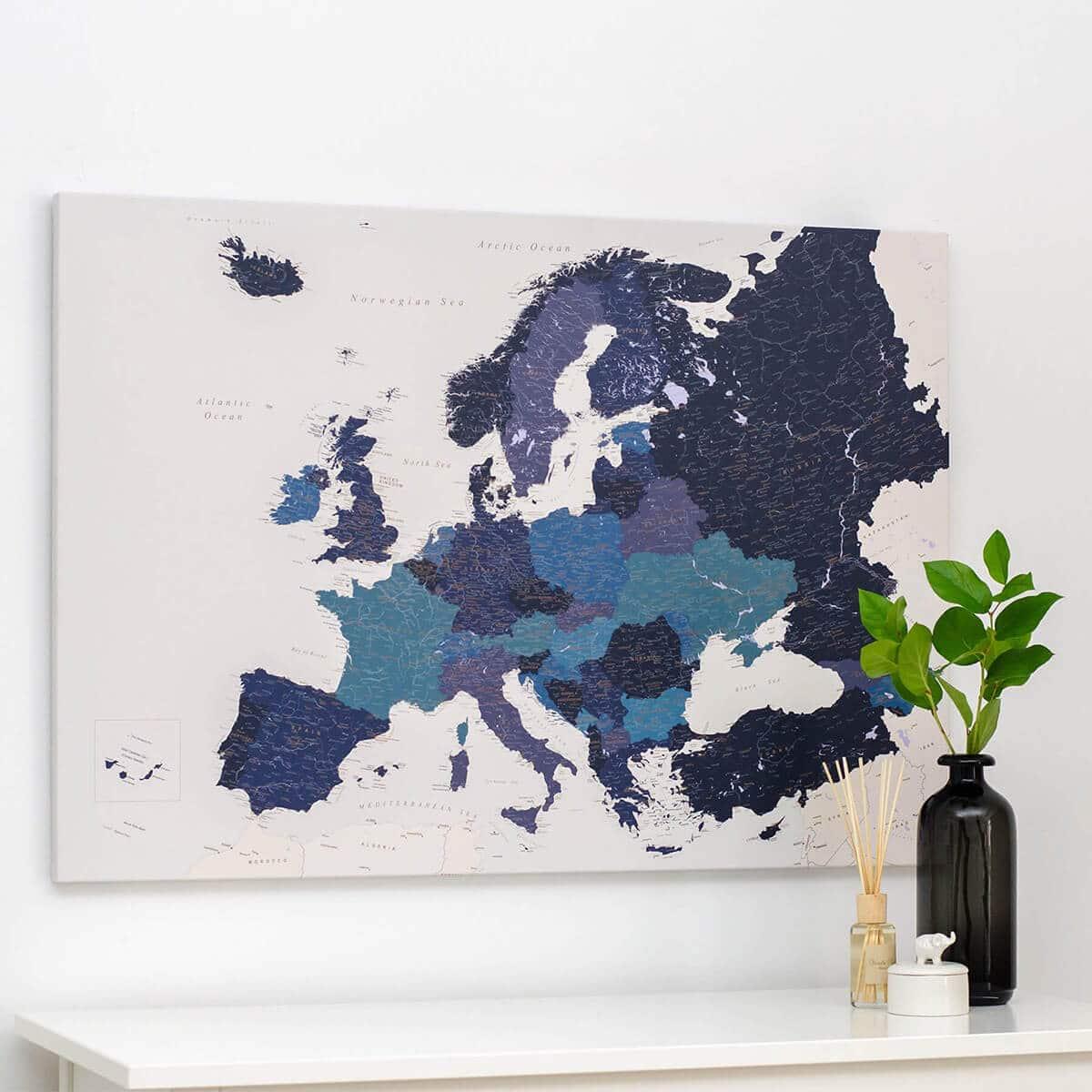 push-pin-europe-map-navy-blue-canvas-tripmapworld