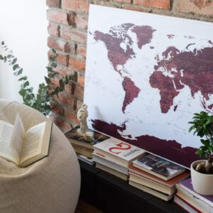 stylish canvas world map with pins