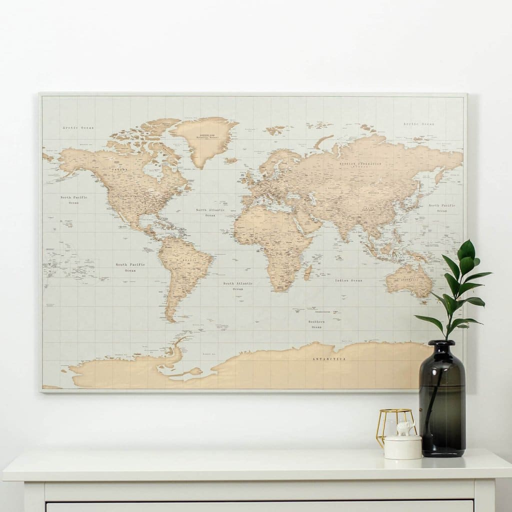 vintage world map canvas interior