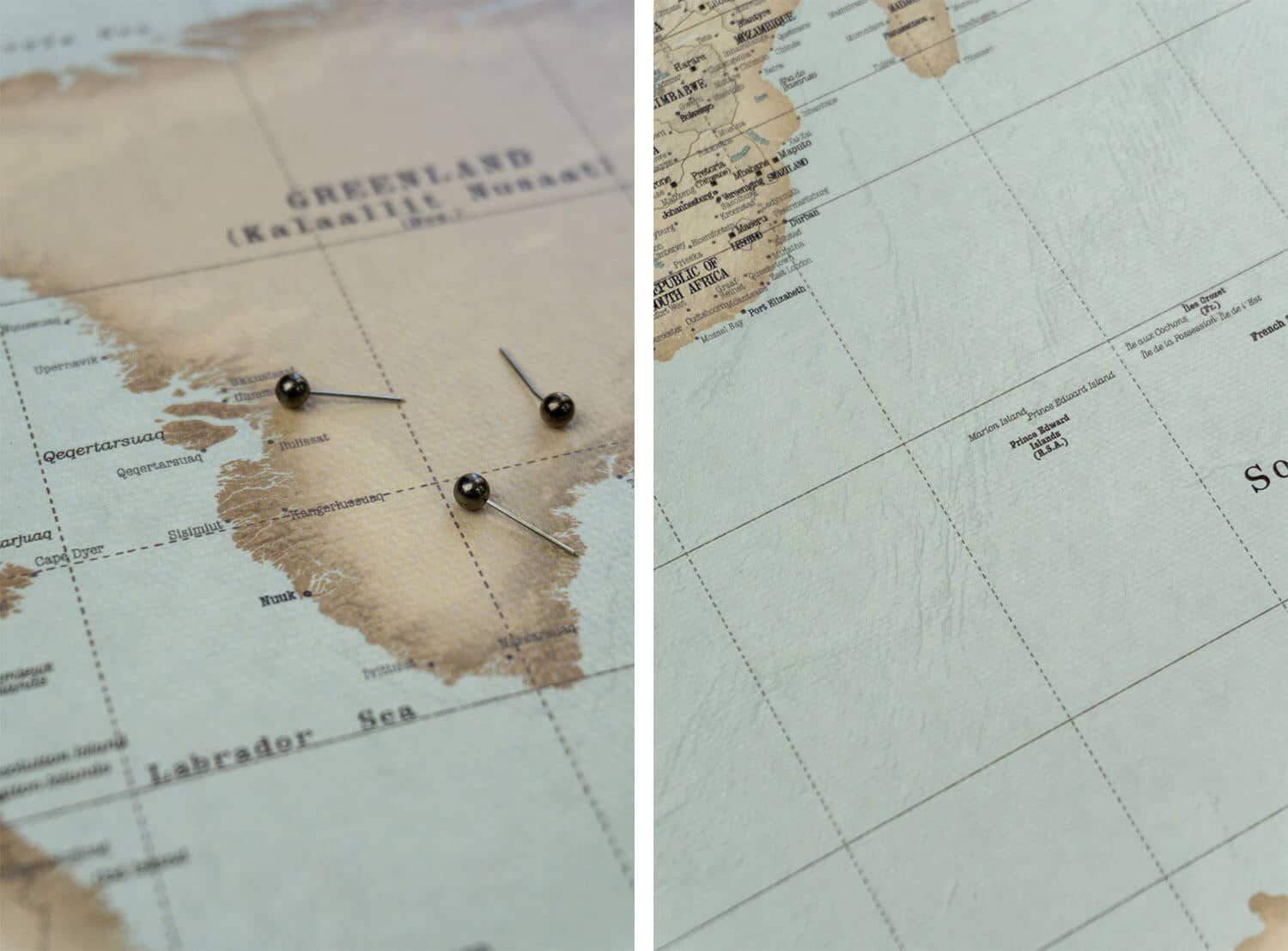 vintage world map pinboard with pins