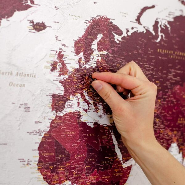world map with pins burgundy