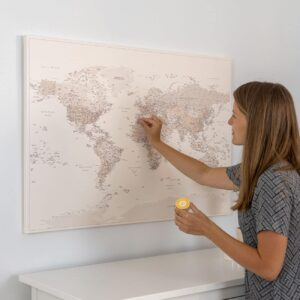 Push-Pin-World-Map-Canvas-Desert-Sand-Detailed