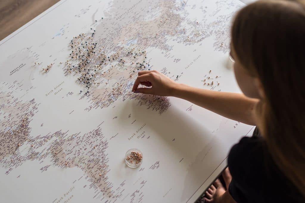 canvas push pin map of the world tripmapworld
