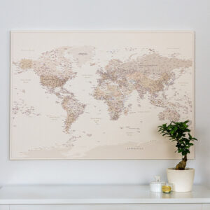 Push Pin World Map - Desert Sand (Detailed) - Tripmapworld.com Canvas World Maps on