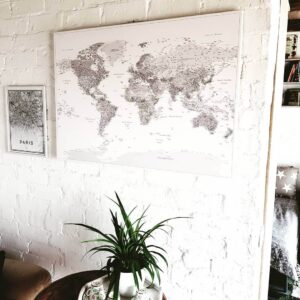 grey and white detail canvas pinnable world map