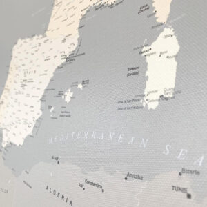 grey canvas europe map with pins
