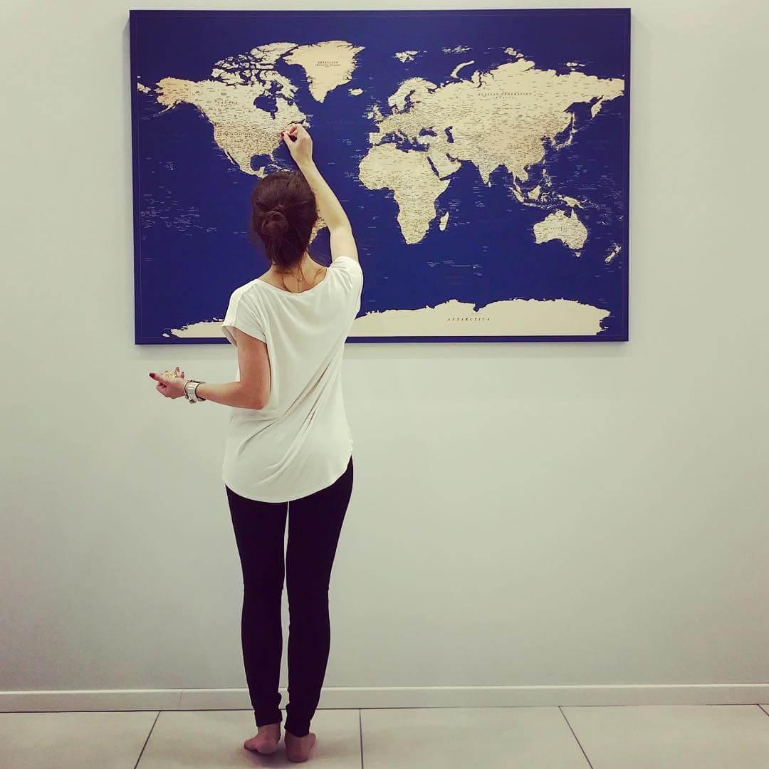 large wall world map blue
