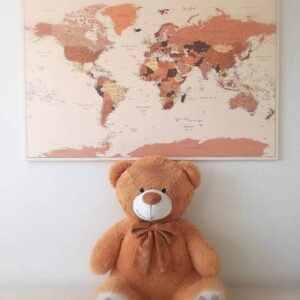 vintage push pin canvas world map