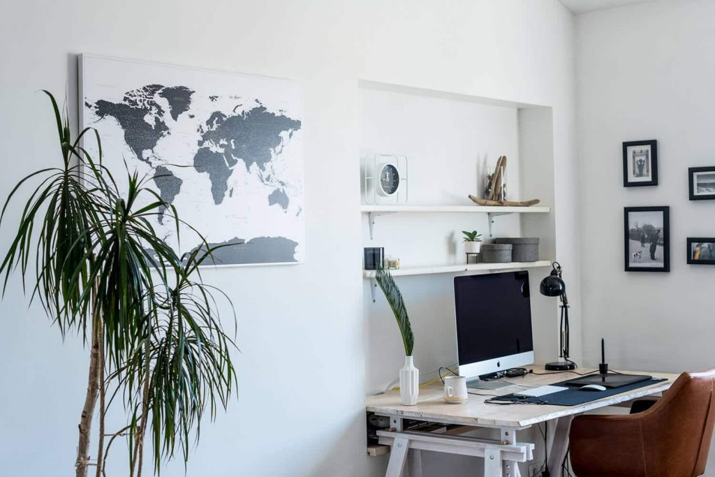 white-and-black-world-map-pushpin--office-wall