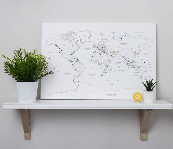 canvas world map pin white