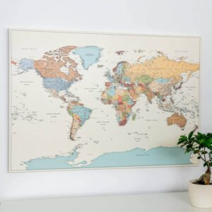 colorful political world map with pins