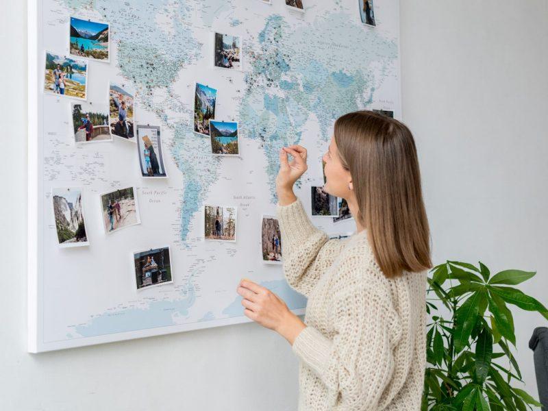 sky blue pin board map