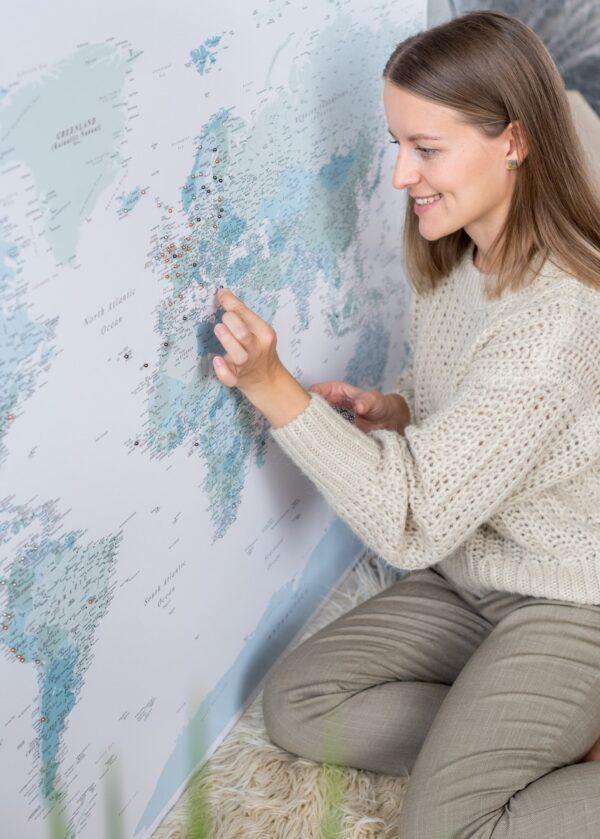 world map with pins mint color