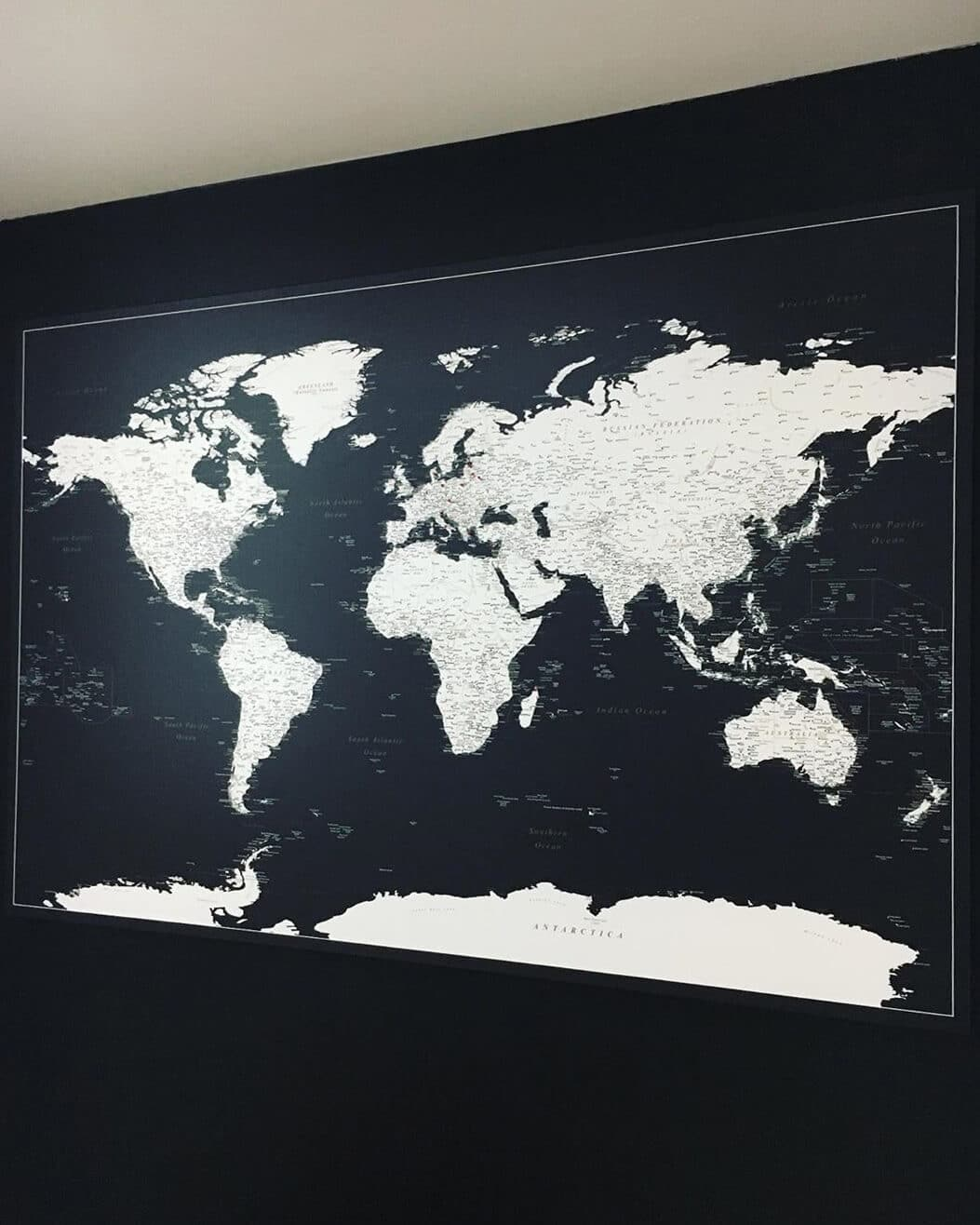 deep black wall art map