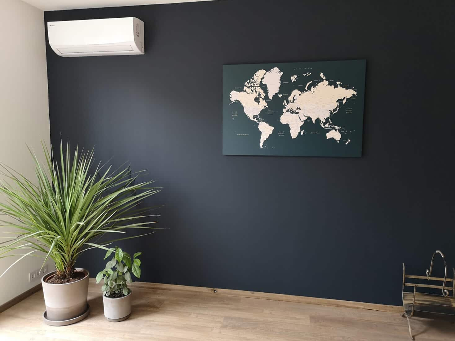 green wall art decor in living room