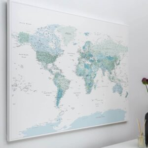 map of the world on wall sky blue