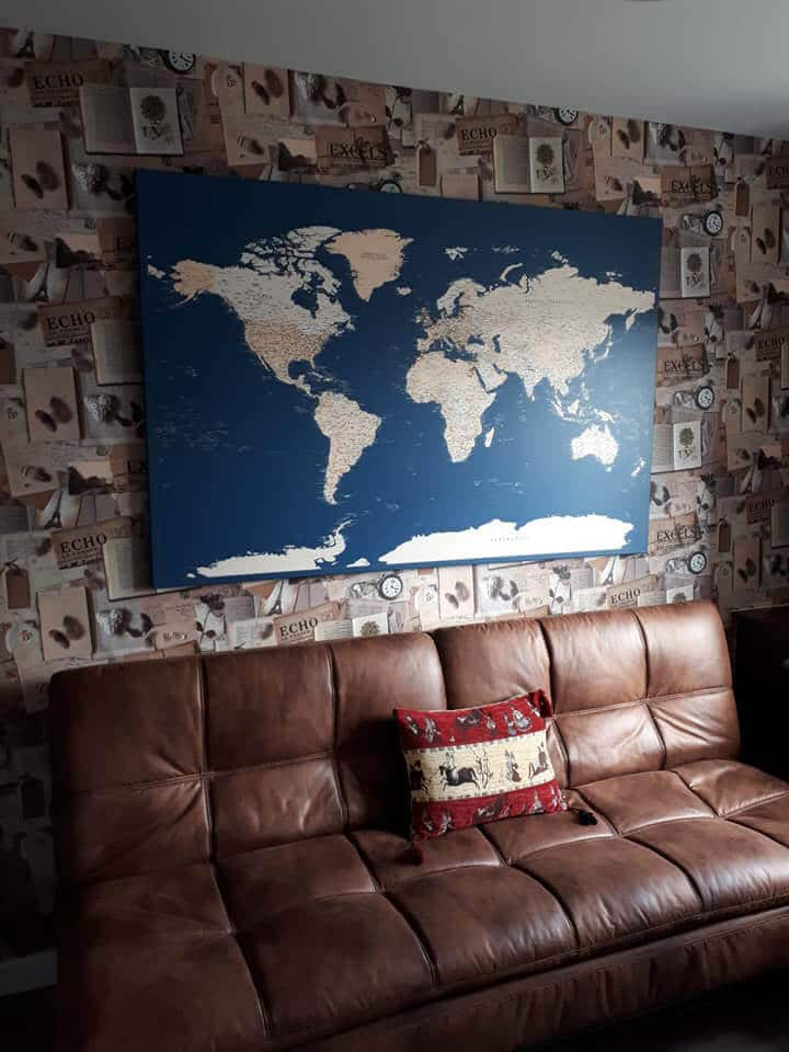 modern blue world map on canvas with pins