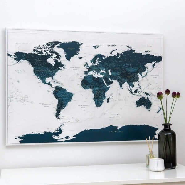 ocean blue push pin world map