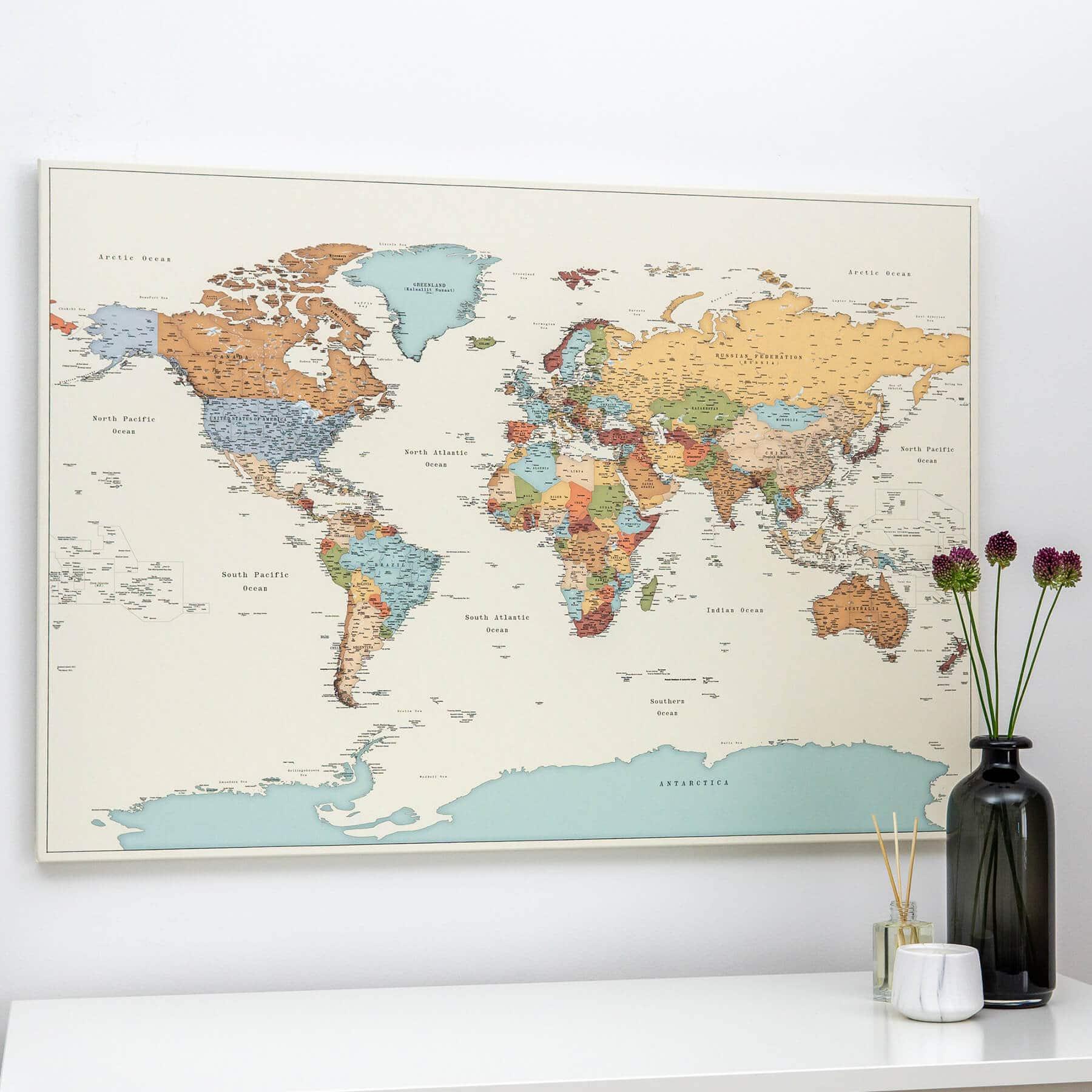 Push Pin World Map Colorful Detailed Tripmapworld Com