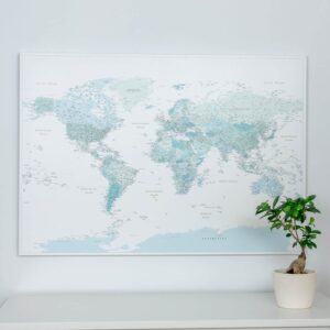 push pin world map sky blue