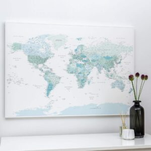 sky blue travel map with pins