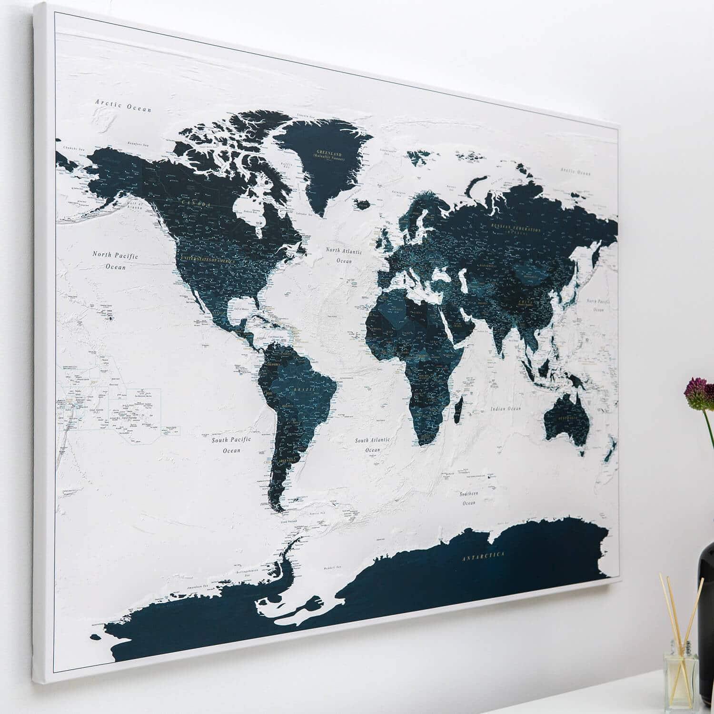 Push Pin World Map - Ocean Blue (Detailed)