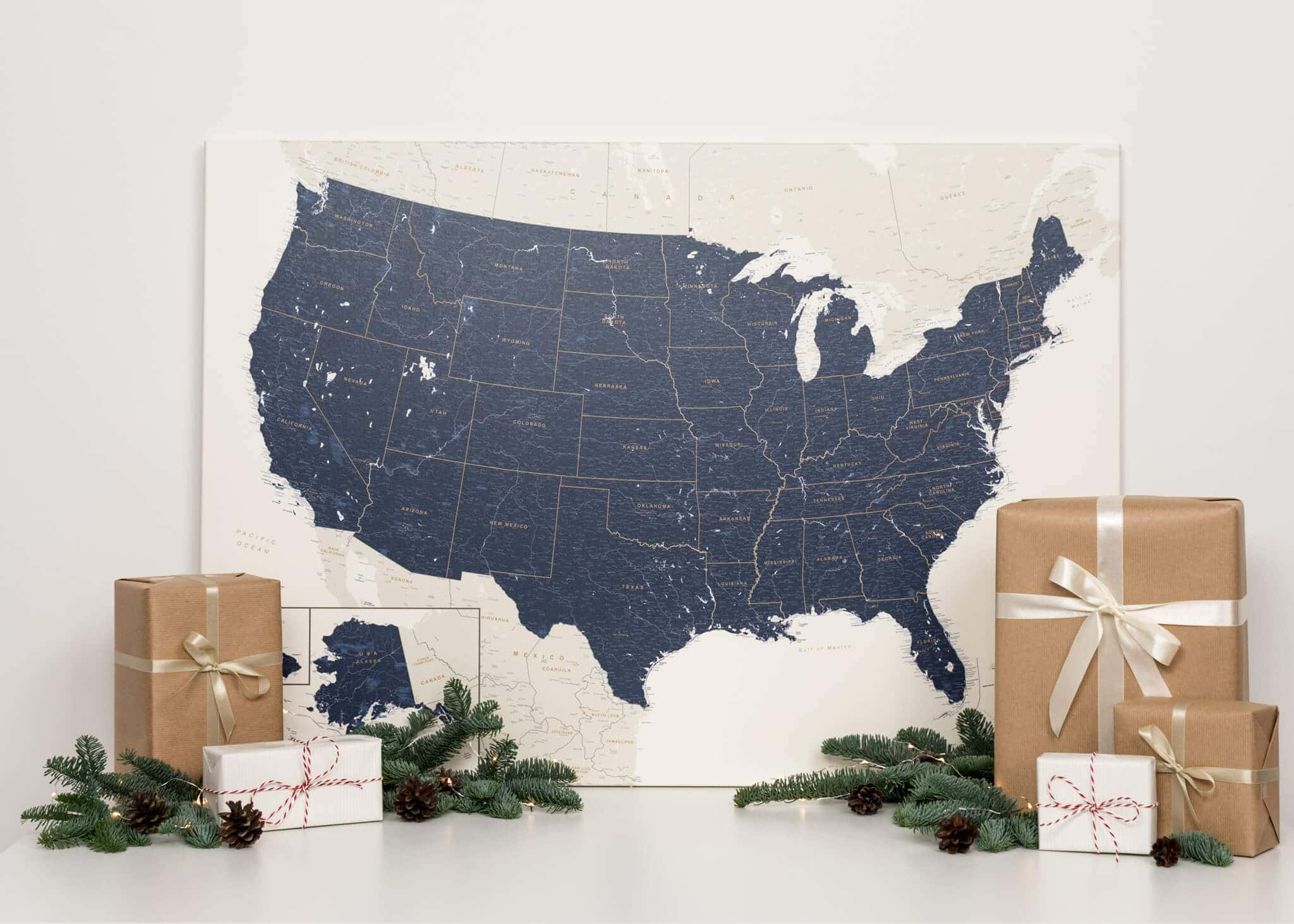 push pin usa map with pins dark blue