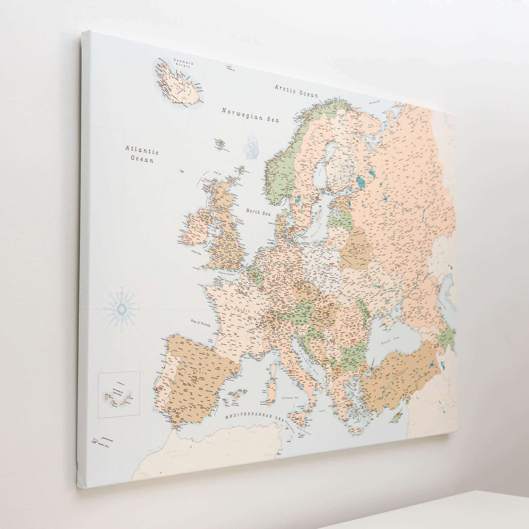 europe map on wall canvas retro