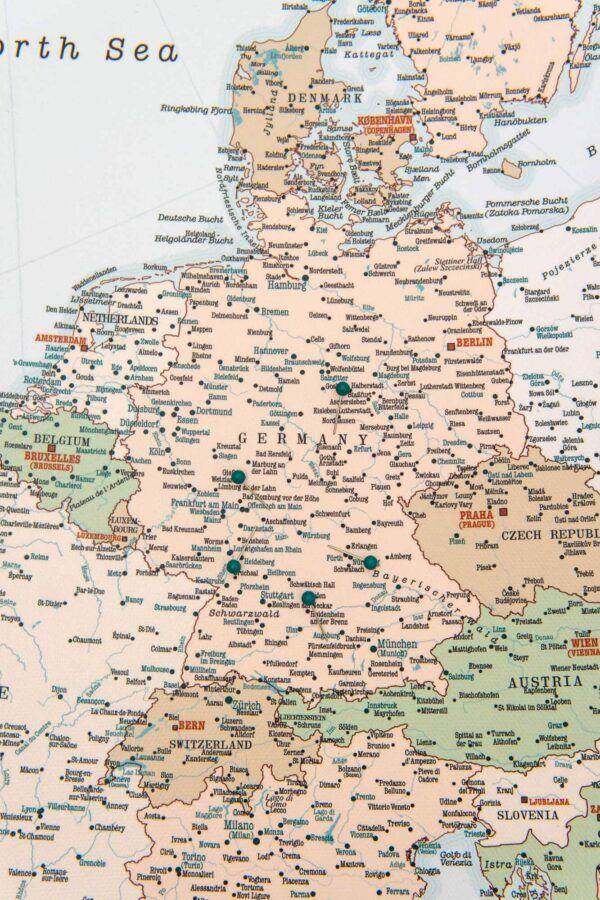europe wall map canvas with pins retro