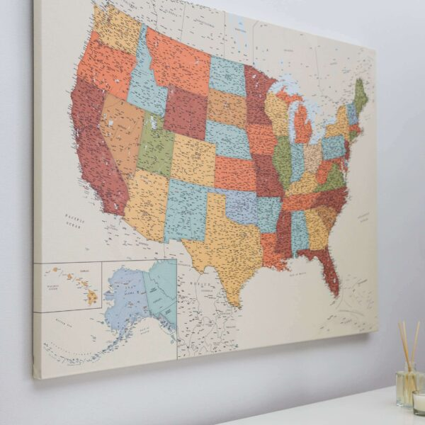 canvas push pin usa map colorful