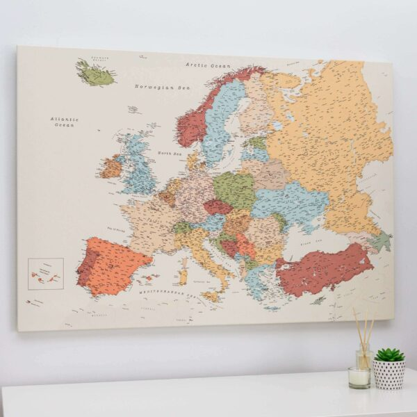 large political europe map with pins colorful