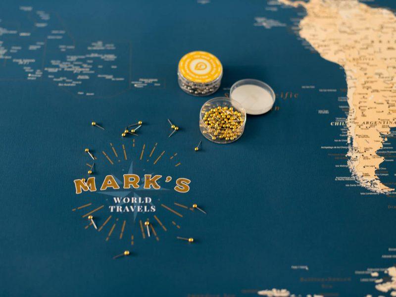 push pin world map personalized