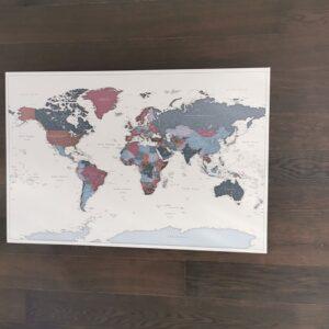 large violet push pin world map from tripmap