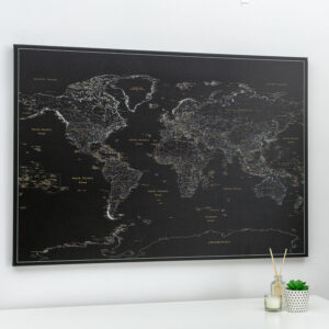 midnight black push pin world map