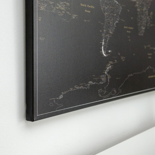 midnight black world map with pins