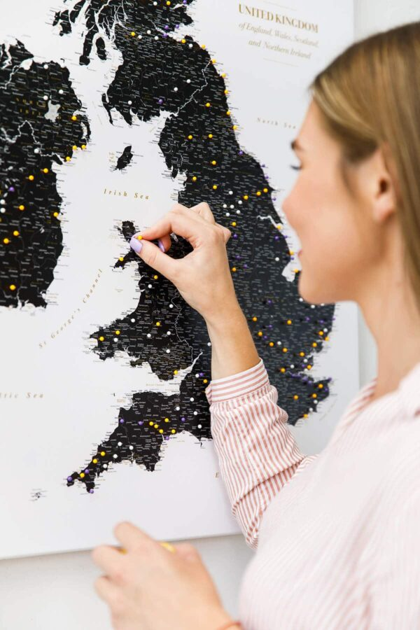 black ireland uk counties wall map with pins