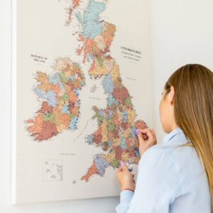 canvas uk and ireland map colorful