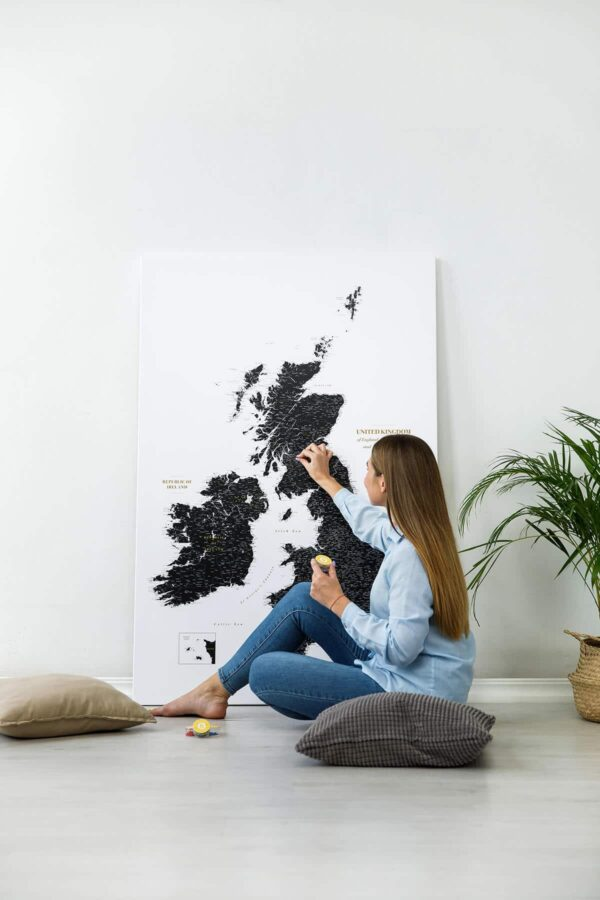 extra large uk ireland canvas map with pins