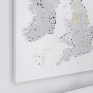 grey uk and ireland push pin map canvas