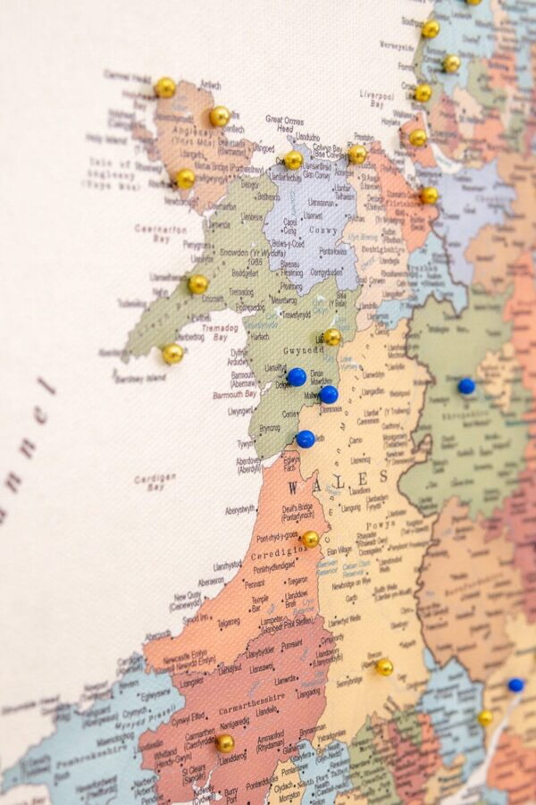 ireland and uk map to pin places visited colorful