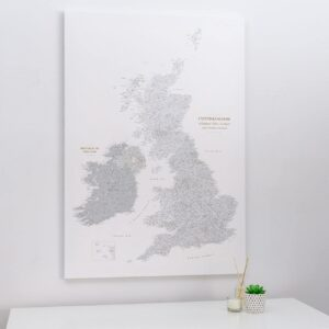 push pin uk and ireland map grey white