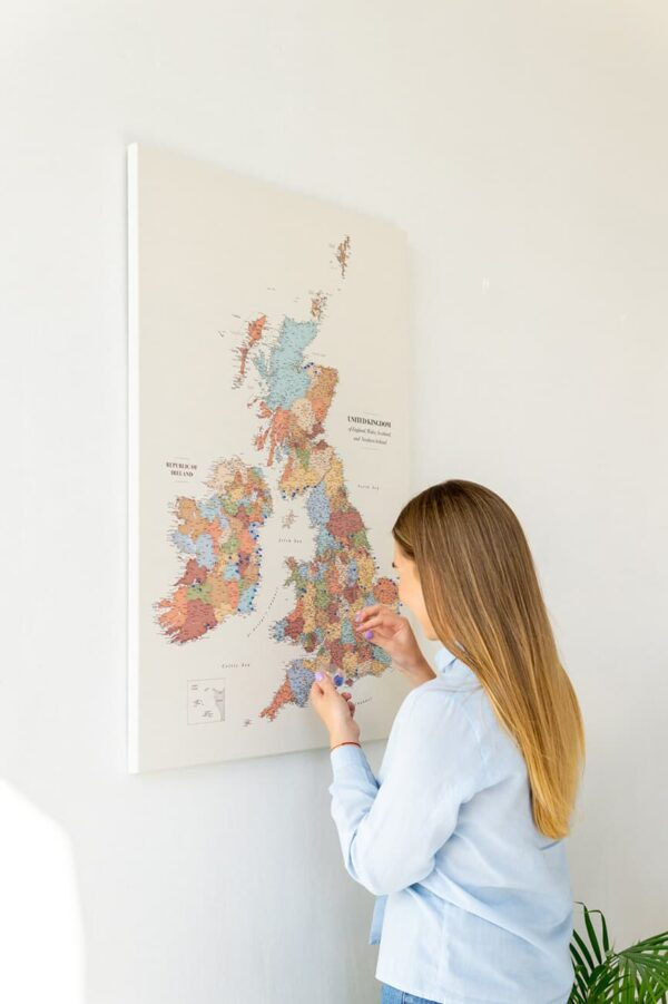 push pin uk map on canvas with pins colorful