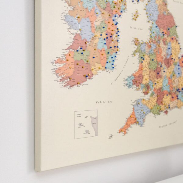 push pin uk map with pins colorful